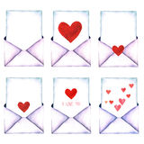 Love letter in an envelope painted in watercolor on a white background isolated. Envelope with Heart. Valentine`s Day, Charity, Lo. Old-fashioned mail envelope royalty free illustration