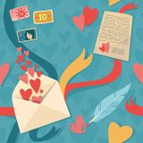 Love letter, envelope and ribbons. Seamless textur Stock Images
