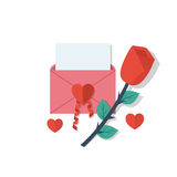 Love letter in envelope. With space for text and a red rose isolated on white background. White paper with place confession. Vector illustration flat design Royalty Free Stock Photo