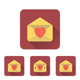 Love letter flat icons set with long shadow Royalty Free Stock Image