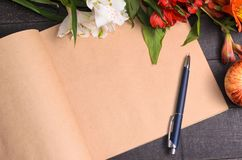 Love letter flower bouquet, free space Stock Images