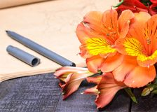 Love letter flower bouquet, free space, Stock Photography