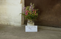 Love Letter and Flowers. In Vase in Front of Doorway-Love Concept Stock Photography