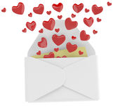 Love letter with flying hearts Stock Images
