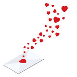 Love letter  flying hearts from love letter Royalty Free Stock Photos