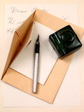 Love letter and fountain pen. Old letter paper and ink Royalty Free Stock Photo