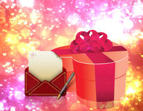 Love letter and gift box stock photos