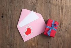 Love letter with gift Royalty Free Stock Photography