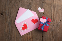 Love letter with gift Royalty Free Stock Image