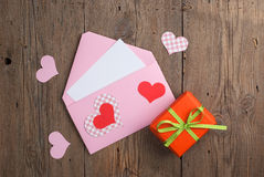 Love letter with gift Stock Photos