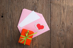 Love letter with gift Stock Photo