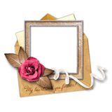 Love letter and gold frame Stock Photo