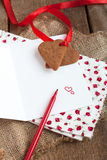 Love letter with heart shape cookies, and red pen Royalty Free Stock Photography