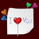 Love letter. With heart shaped lollipops Royalty Free Stock Image