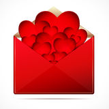 A love letter with a hearts. Stock Photography