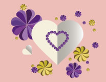 Love letter hearts with flowers on a Vintage background Stock Images