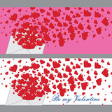 Love letter with hearts Valentines.Banners.Vector Stock Photo