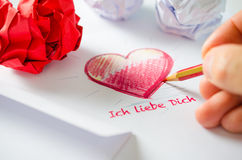 Love letter - Ich liebe Dich Royalty Free Stock Photos