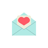 Love letter icon. Love letter flat icon, mother`s day card, envelope with hearth vector graphics, a colorful solid pattern on a white background, eps 10 Vector Illustration
