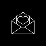 Love letter icon. Love letter line icon, mother`s day card, envelope with hearth vector graphics, a linear pattern on a black background, eps 10 Vector Illustration