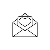 Love letter icon. Love letter line icon, mother`s day card, envelope with hearth vector graphics, a linear pattern on a white background, eps 10 Royalty Free Illustration