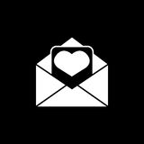 Love letter icon. Love letter solid icon, mother`s day card, envelope with hearth vector graphics, a filled pattern on a black background, eps 10 Royalty Free Stock Photo