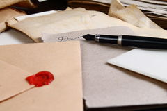 Love letter. Ink and pen Stock Photos