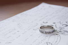 Love letter. A memo writing many text meaning love Stock Photo