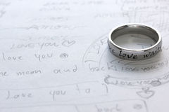 Love letter. A memo writing many text meaning love Royalty Free Stock Photo