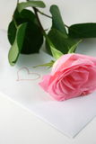Love letter with a pink rose Royalty Free Stock Image