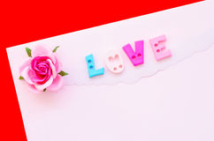 Love letter with pink rose. Royalty Free Stock Images