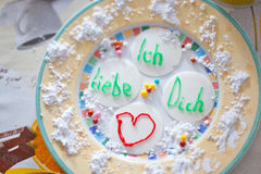 Love letter on plate on Valentin's Day Stock Image