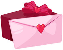 Love letter with present Royalty Free Stock Image