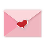Love letter. With present on white background stock illustration