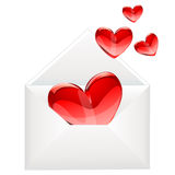 Love letter and red hearts Royalty Free Stock Images