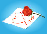 Love letter and Red Roses Flowers.  Stock Photo