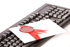 Love-letter with red seal and ribbon Royalty Free Stock Photography
