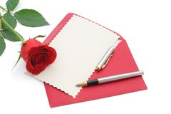 Love letter with rose. Blank valentine card with copy space for custom text - isolated (clipping path royalty free stock photos