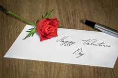 Love Letter with a Rose Stock Photo