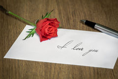 Love Letter with a Rose Royalty Free Stock Photography
