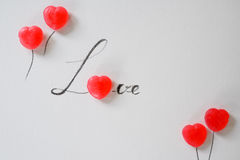 Love letter from sweet candy Stock Images