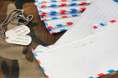 Love letter to soldier. Love letter written to deployed soldier Royalty Free Stock Images