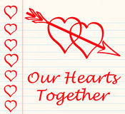 Love letter two hearts arrow Stock Image