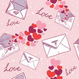 Love letter Valentine seamless texture Stock Images