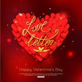 LOVE LETTER - Valentines Day Greeting card. Red heart. Happy Valentines Day Background. Vector illustration Royalty Free Stock Image
