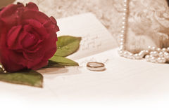 Love letter. With wedding ring Royalty Free Stock Photos