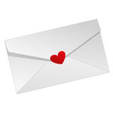 Love letter. A white love letter with a red heart Stock Images
