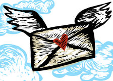 Love Letter on Wings. A Love letter with wings. Artwork was done to simulate woodcut / engraving style Stock Image