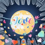 Love Letter With Bird And Scatter Of Colorful Heart With Shadow Floating Over Big Yellow Full Moon And High Building On Blue Stock Images