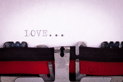 Love letter written. With a typewriter Stock Photo